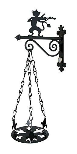 Imex El Zorro houder voor bloempot, kat, violinista, zwart, 41 x 30 x 59 cm