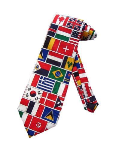 Steven Harris Mens United Nations Flags Necktie - White - One Size Neck Tie