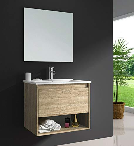 OIMEX EDEN 60 cm Natur Designer Badmöbel Set Waschtisch Unterschrank mit Waschbecken aus Keramik INKL. Spiegel