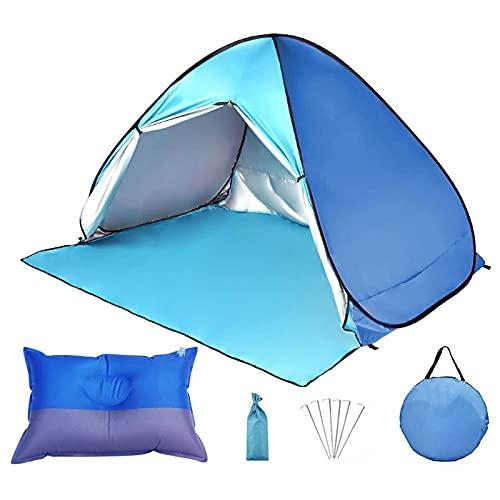 Tenda da spiaggia pop-up per 3-4persone - Classificazione UPF 50+ per protezione solare UV, riparo solare portatile istantaneo automatico-Compresi borse da viaggio