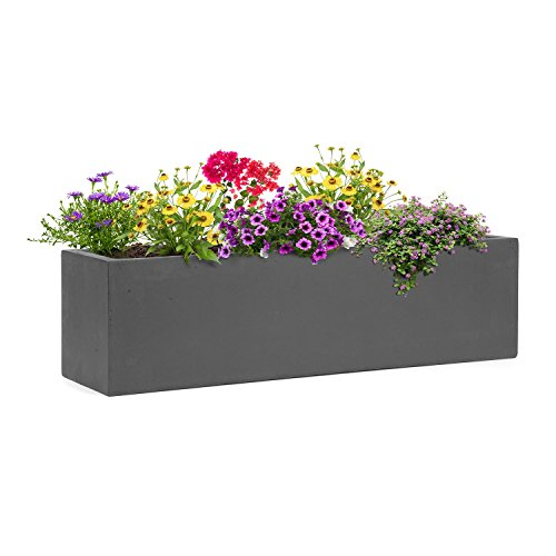 blumfeldt Solidflor Pflanzkübel Pflanztopf Übertopf Blumentopf (75 x 20 x 20 cm, Fiberglas, Beton-Optik, frostsicher, niedriges Gewicht, sicherer Stand) dunkelgrau
