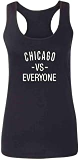 Pop Threads Chicago Flag Pride City Sports Fan Pizza Fire Fashion Tank Top Tee for Women