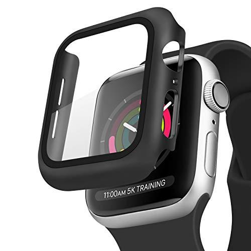 Amzpas Cover Compatibile per Apple Watch Series 6, Series 5, Series 4, SE 44mm Pellicola Protettiva, Custodia Rigida con Vetro Temperato per iWatch SE Series 6 Series 5 Series 4 (Nero)