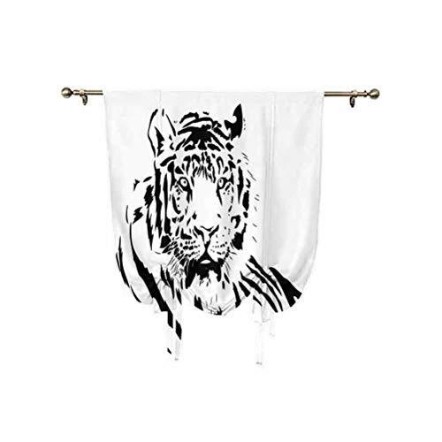 Tigre - Tenda con motivo a strisce nere di un grande gatto con scene di natura, bella superlime bestia, decorazione regolabile, 100 x 150 cm, per cucina, camera da letto dei bambini, colore: nero