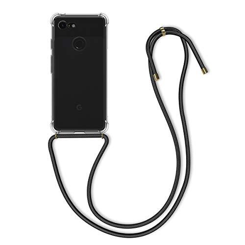 kwmobile Google Pixel 3 Hülle - mit Kordel zum Umhängen - Silikon Handy Schutzhülle - Transparent Schwarz