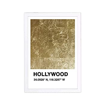 Wynwood Studio Skylines Framed Wall Art Prints  Hollywood Color Swatch  United States Cities Home Décor 13  x 19  Gold Black