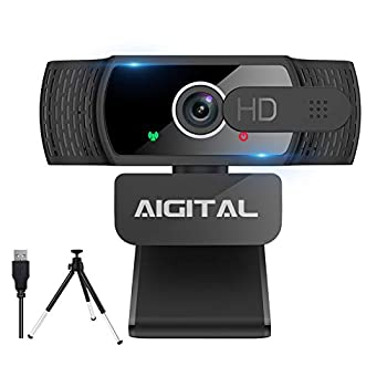 Aigital Webcam with Microphone HD 1080P Computer Camera with Privacy Cover and Tripod USB Webcam Plug and Play for PC Desktop Laptop Autofocus Webcam with 360° Rotating Design for Video Conference