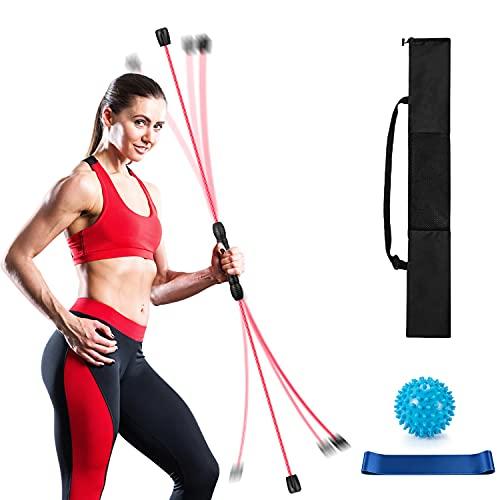 Schwingstab Fitness für Ganzkörpertraining Schwingstick 160cm mit Therabänder und Massageball zum Trainieren (Rot)