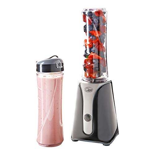 Quest Nutri-Q Personal Blender 600ml | One Touch Button | Slimline, Portable and Compact | Stainless Steel Blades (Black & Grey)