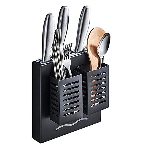Soporte para secado de cuchillos de acero inoxidable negro montado en la pared, bloque de cuchillos sin cuchillos - Escurridor de cuchillos para palillos, tenedores, cucharas