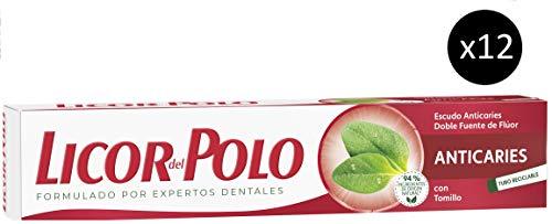 Licor del Polo Dentífrico Anticaries - Efectiva Protección Anticaries y un Aliento Fresco - 12 tubos de 75 ml (Total: 900 ml)