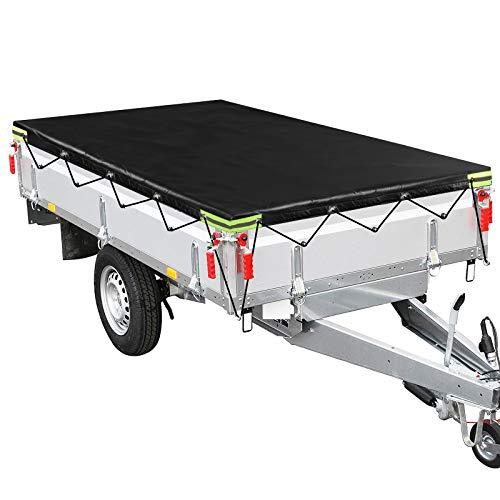 ELUTO Anhängerplane Flachplane mit Gummiseil pkw Anhänger Zubehör 211x116x8cm Wasserdicht Anhänger Abdeckplane für viele 500 kg und 750 kg Hänger