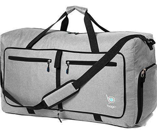 Bago 60L Duffle Bags for Men & Women - 23' Foldable Travel Duffel Weekender Bag - Holiday Travel Gift (SnowGray)