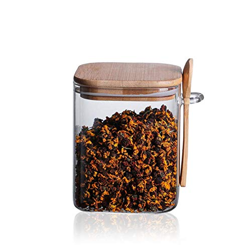 litulituhallo tarro de cristal del almacenamiento de alimentos 1000Ml botella apilable cuadrada clara con café de madera hermético