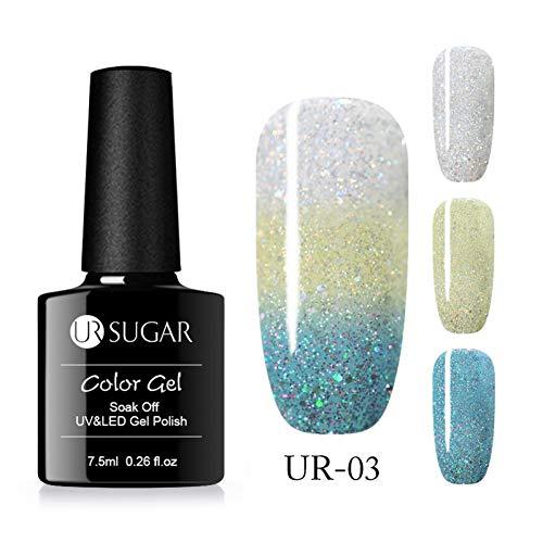 CWJCZY Smalto gel per il cambiamento termico del colore arcobaleno Smalto olografico Glitter per ammollo Uv Gel Vernice 7,5 ml Chiodo art