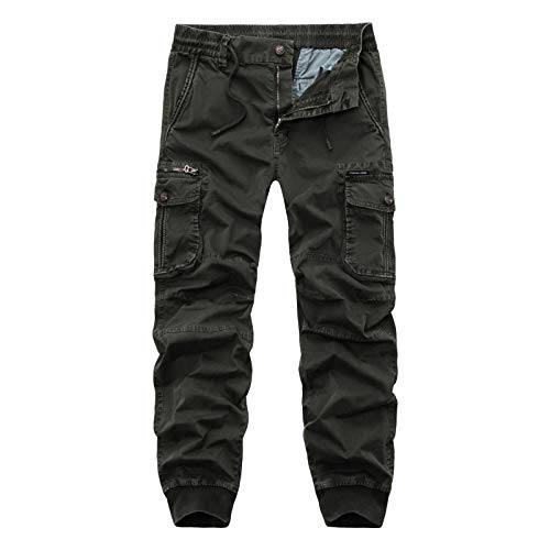 Pantalones Cargo para Hombre, Color sólido, Ajustado, Multibolsillos, Casuales, con viga, Estilo Militar, Campo, Caza, Pantalones hasta el Tobillo 30