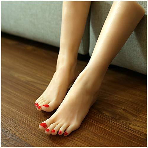 Pies silicona 2pcs Modelo - tamaño natural de silicona femenino del maniquí pie pierna - Mujer silicona del pie Pies Modelo - para la exhibición la joyería la sandalia del zapato del calcetín Display