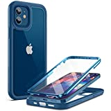 YOUMAKER [2021 Upgraded] Aegis Series for iPhone 12 Case & iPhone 12 Pro Case, Full-Body with Built-in Screen Protector Rugged Clear Case for iPhone 12/12 Pro Case 6.1 Inch - Deepblue