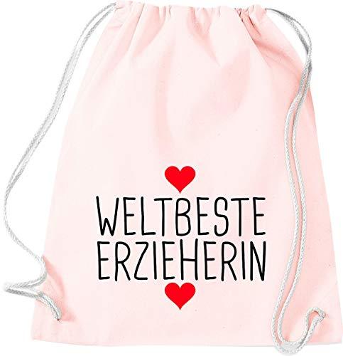 Shirtstown Sac de gym, Meilleur Éducation, Sac de sport, Rose pastel, 37 cm x 46 cm