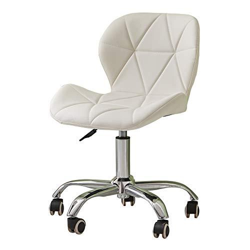 CLIPOP Silla de escritorio de oficina blanca, silla giratoria de computadora con base cromada y altura ajustable de piel sintética para el hogar, oficina, estudio, muebles de sala