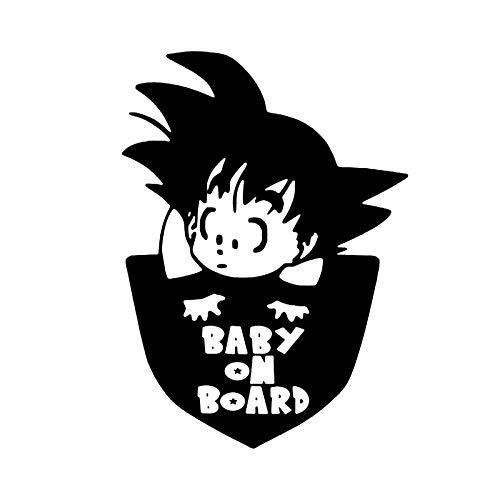 Pegatina para Coche Bebé a Bordo Goku Dragon Ball Prevención al Circular Bonita y Llamativa Adhesiva de Color Negro