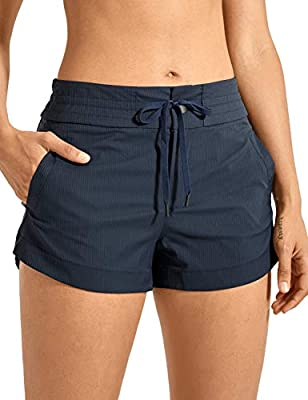 CRZ YOGA Women's Casual Hiking Shorts Drawstring Striped Athletic Lounge Travel Shorts with Pockets -3 inches True Navy S