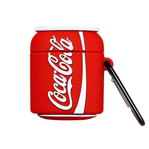 Ultra Thick Soft Silicone Case Cover for Apple AirPods 1 2 1st 2nd Generation with Keychain Coke Drink Can Shaped 3D Cartoon Cute Fun Funny Cool Unique Creative Women Teens Girls Boys Men