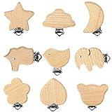 9 Stück Schnullerketten Clips Schnullerclip Holz Set Schnuller Halter für Säuglinge und Kleinkinder Baby (9 Muster)