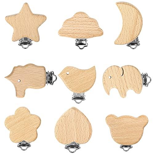 Yangfei 9pcs Clip Chupete Bebe, Clips de Cadenas para Chupetes Pinzas Chupete, Clip Chupetero Madera Chupetero Personalizado para Bebe (9 estilos)