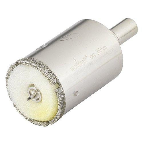 Wolfcraft 5926000 1 Diamant-Lochsäge Ceramic mit Schwamm, 10 mm Schaft Ø 35 Silber