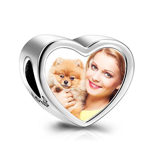 LONAGO 925 Plata Esterlina Personalizada Foto Encanto en Forma de Corazón Personalizado Imagen Encanto de Cuentas Ajuste Pandora Encanto Pulsera para Mujer (Pata)