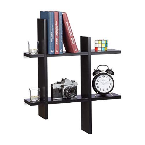 Relaxdays Estantería de Pared con 6 Compartimentos, Madera, Negro, 10x58.5x58.5 cm
