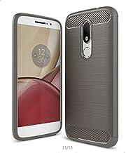 Motorola Moto M - Carbon Fiber TPU Gel Slim Lightweight Case Cover -Grey