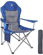 EVER ADVANCED vouwbare campingstoel oversized gewatteerde arm inklapbaar stalen frame hoge rugstoel met bekerhouder zijtas zware ondersteuning 136kg (Blauw)