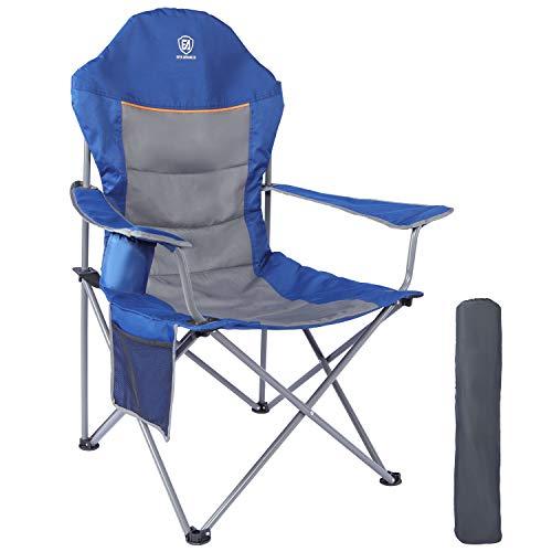 EVER ADVANCED Klappstuhl Campingstuhl Angelnstuhl faltbar hoher Rücken mit Getränkehalter Seitentasche Übergröße belastbar 136kg schwarz (Blau)
