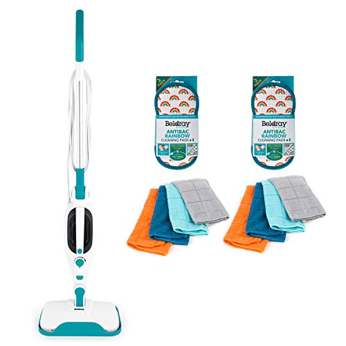 Beldray COMBO-7056 12-in-1 Flexi Upright Handheld Steam Cleaner with Microfibre Cloth and Anti-Bac Rainbow Cleaning Pads, 1300 W