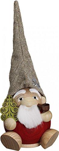 SeifVK Weihnachtsdekoration Erzgebirge Holzkunst Handarbeit Kugelfigur Räuchermännchen Waldzwerg inkl. 2 Räucherkerzen Holz 19 cm