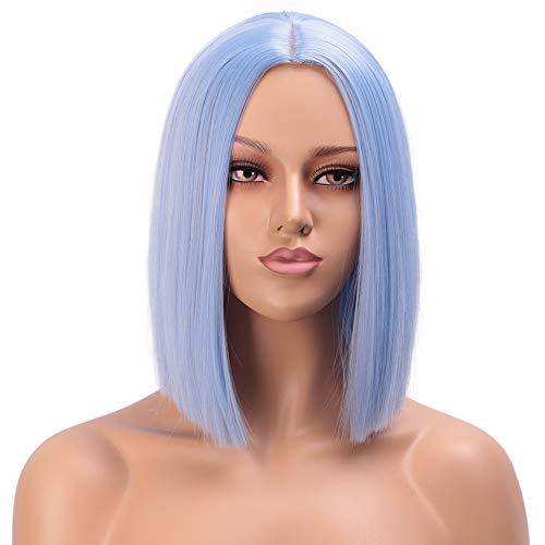 ENTRANCED STYLES Light Blue Wig Synthetic Straight Hair Bob Cut Wig Middle Part Shoulder Length Fashion Bob Wigs for Women Cosplay Wig