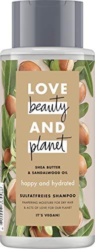 Love Beauty And Planet Happy & Hydrated Shampoo, für trockenes Haar Sheabutter & Sandalwood Oil silikonfrei, 1 Stück (400 ml)