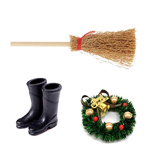 LjzlSxMF Miniatur-Puppenhaus-Set, Mini-Haus-Weihnachtsschmuck Mini-Kranz-Simulation Besen Regen Stiefel Schuhe Deko-Set Weihnachten Art Supplies Geschenk für Mädchen