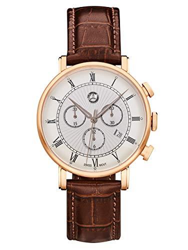 Mercedes-Benz Collection Chronograph Herren Classic Retro Gold | Herrenuhr/Armbanduhr aus Edelstahl & Kalbsleder | braun, roségold