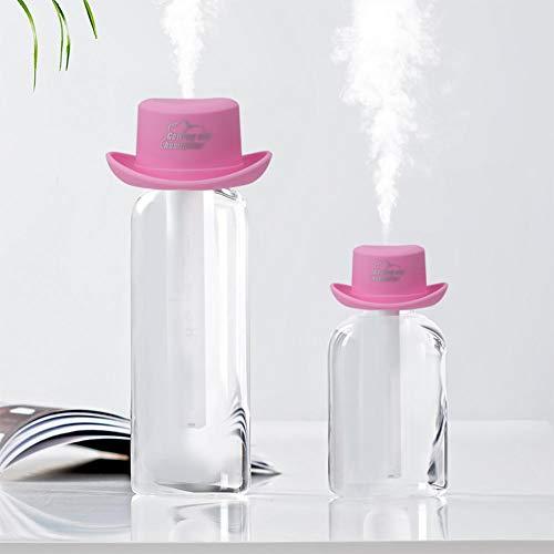 Mini purificador de humidificador de aire mini usb portátil con forma de sombrero Mejora el ambiente de aire para la oficina del automóvil en el hogar, ecológico, muy lindo y de moda(Rosado)