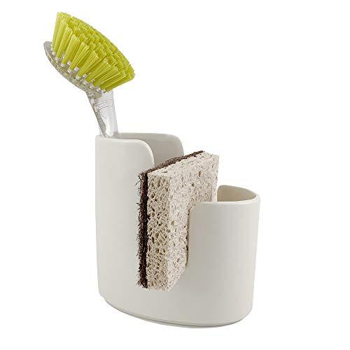Scarlettwares Sponge Scrub Brush Holder Kitchen Caddy Ceramic White Kitchen Sink
