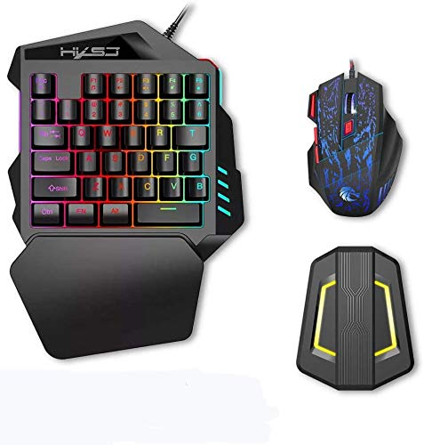 Docooler HXSJ J50 Gaming Keyboard Mouse Set, LED Backlight Wired Gaming Mouse + HXSJ P6 Keyboard and Mouse Adapter Compatible for N-Switch PS4 PS3 Xbox One 360