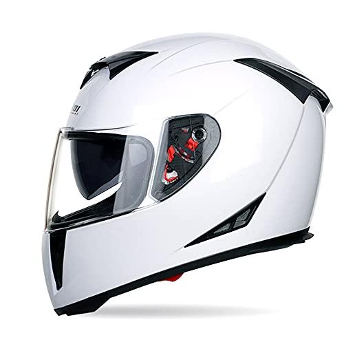 Motorradhelm Integralhelm Damen Herren Racing Helm Incl. Verspiegeltem Visier,Weiß,XXL