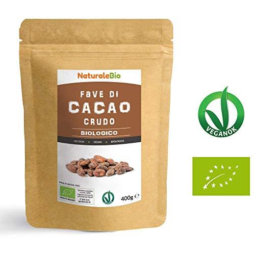 Fave di Cacao Crudo Biologico da 400g. 100% Bio, Naturale e Puro. Prodotto in Perù dalla Pianta Theobroma Cacao. Superfood Ricco di Antiossidanti, Minerali e Vitamine. NaturaleBio