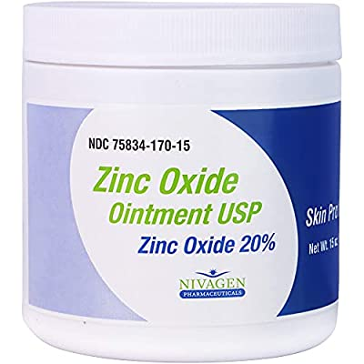 Nivagen Zinc Oxide Ointment USP 20% | For Diaper Rash, Chafed Skin, Protects From Wetness, Relief From Poison Ivy, Poison Oak, & Poison Sumac | 15oz Jar Of Zinc Oxide by Nivagen Pharmaceuticals, Inc.