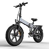 BAHAOMI Bicicleta Eléctrica 48V 12.8Ah Batería De Litio Extraíble Snow Ebike 20 X 4.0 Neumáticos De Grasa Todo Terreno Bicicleta De Montaña Eléctrica Plegable para Adultos,Gris