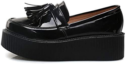 RoseG Mujer Zapatos Creepers Sin Cordones Plataforma