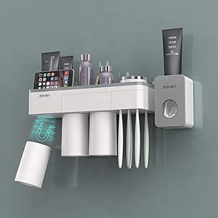 TRDF Support mural pour brosse /à dents et dentifrice Distributeur automatique Anti-poussi/ère
